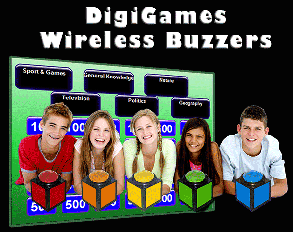 Game show trivia wireless buzzers quiz buzzer trivia games fast action games and wireless buzzers perfect for all ages solutioingenieria Images